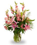 Pink and white vase arrangement